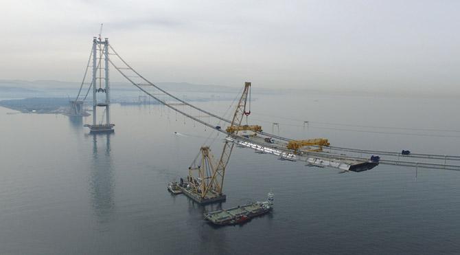 İzmit Körfez Geçiş Köprüsü'nde 275 Metre Tamam