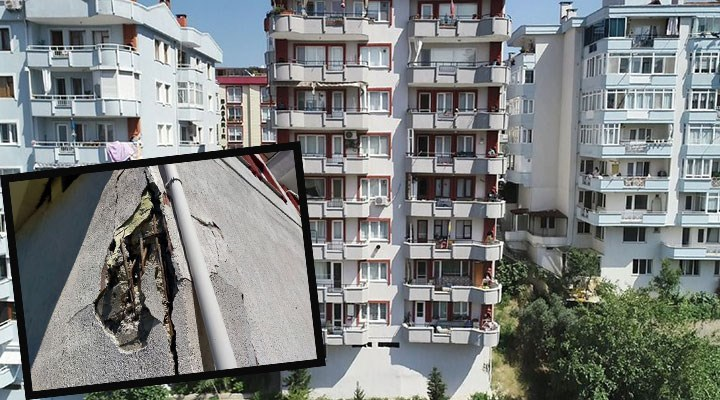 Bursa'da kolonları patlayan 9 katlı bina tahliye edildi