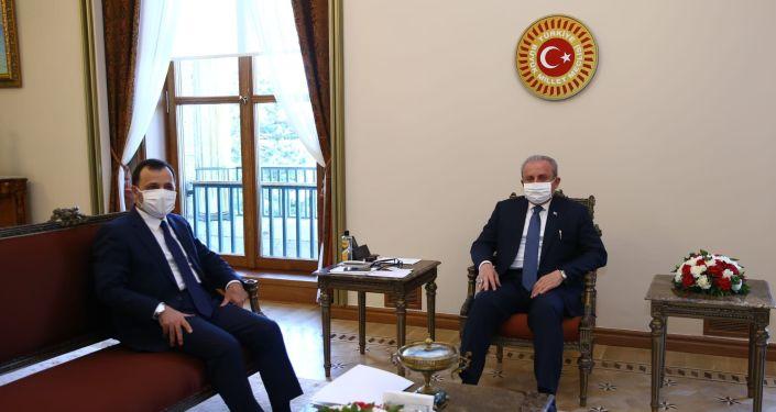 TBMM Başkanı Mustafa Şentop, Anayasa Mahkemesi Başkanı Zühtü Arslan'ı kabul etti