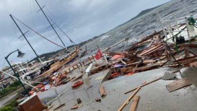 Ayvalık'ta fırtına nedeniyle onlarca tekne battı, bir kişi denize düştü