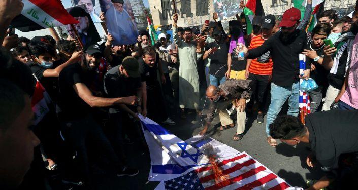 Bağdat'ta Sadr Hareketi yanlılarından 'Filistin'e destek' mitingi