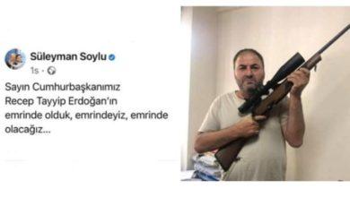 Din öğretmeninden Soylu'ya tüfekli destek mesajı