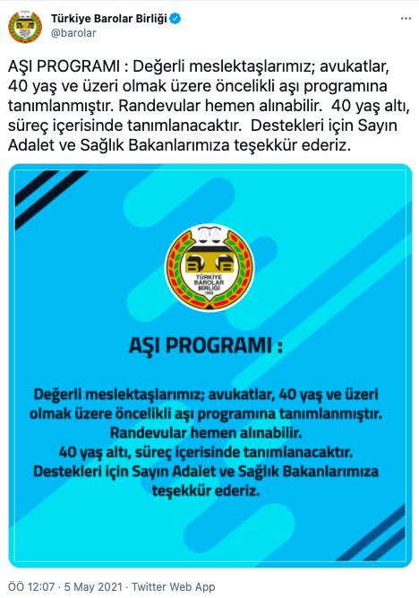 Türkiye Barolar Birliği : 40 yaş ve üstü avukatlar öncelikli aşı programına tanımlandı