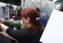 """Ankara'da,""""İstanbul Sözleşmesi yaşatır"""" açıklamasına polis müdahalesi"""