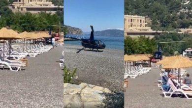 Marmaris'te plaja inen helikopter tartışması