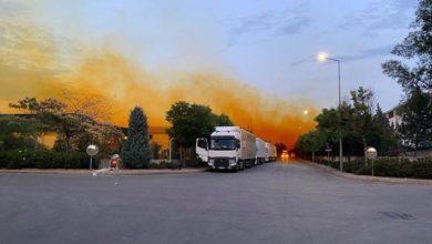 Nitrik Asit tankındaki sızıntı ,gökyüzünü turuncuya boyadı